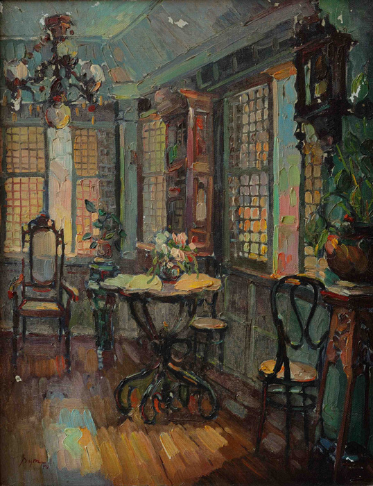"Interior of an Old House, Liliw Laguna, Oil on canvas 17.5""x13.5"" SYM painting, 1970 (Photo by Pancho Francisco)"