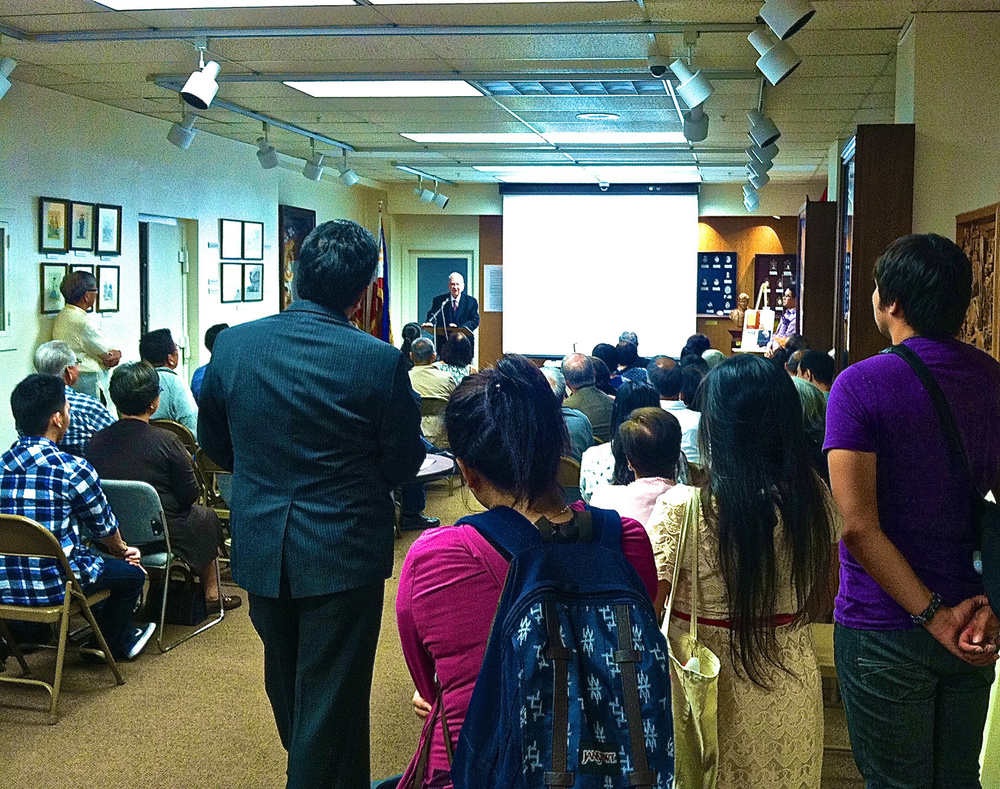 Alan Smith, NVM Gonzalez's dean at Cal State Hayward (now Cal State East Bay), shares his memories of the Philippine National Artist for Literature during a program at the Philippine Consulate General in San Francisco on Friday, September 11, 2015. The program, which commemorated Gonzalez's birth centenary, gathered many of his family members, friends, colleagues and former students in the Bay Area, where he was based in the 1980s. Gonzalez died in the Philippines in 1999.