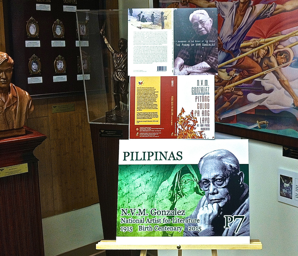 The display during Friday's program consisted of the covers of two new books featuring the works of NVM Gonzalez, along with an image of a commemorative postage stamp honoring him.