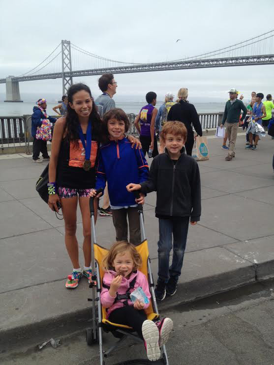 Anna Bretan, SF Marathon runner, nurse and mother with her children Mason, Preston and Tatum. (Photo courtesy of Anna Bretan)