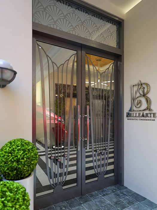 A rendering of Belle Arte Residential Condomniums Lobby Entrance