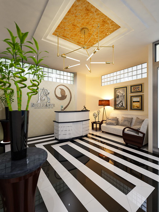 A rendering of Belle Arte Residential Condomniums Lobby Interior