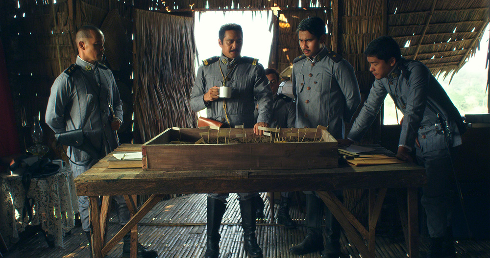 "John Arcilla (second from left) as General Antonio Luna with Art Acuña, Joem Bascon and Alex Vincent Medina in this scene from ""Heneral Luna."""
