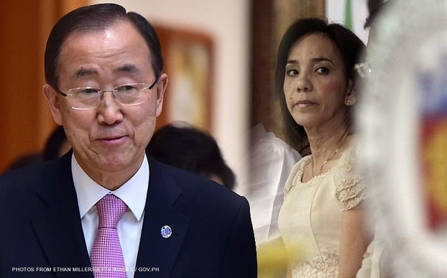 United Nations (UN) Secretary General Ban Ki-Moon and Commission on Audit (COA) Commissioner Heidi Mendoza (Source: CNNPhilippines)