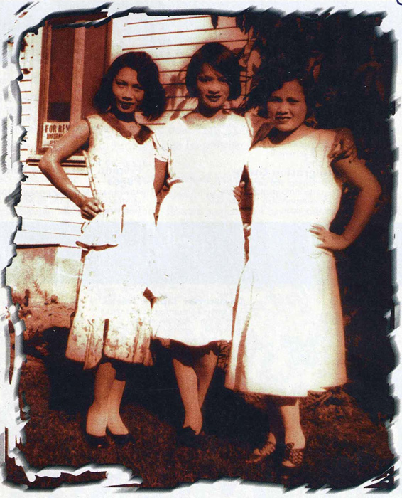 Unanswered questions: Cecelia Navarro (opposite, left) with sisters Remedios and Asuncion in 1932. (Source:  Filipinas Magazine,  October 1997)