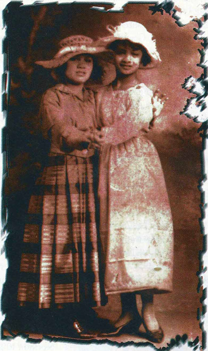 Cecilia, as a young girl, with sister Asuncion  (Source: Filipinas Magazine, October 1997)