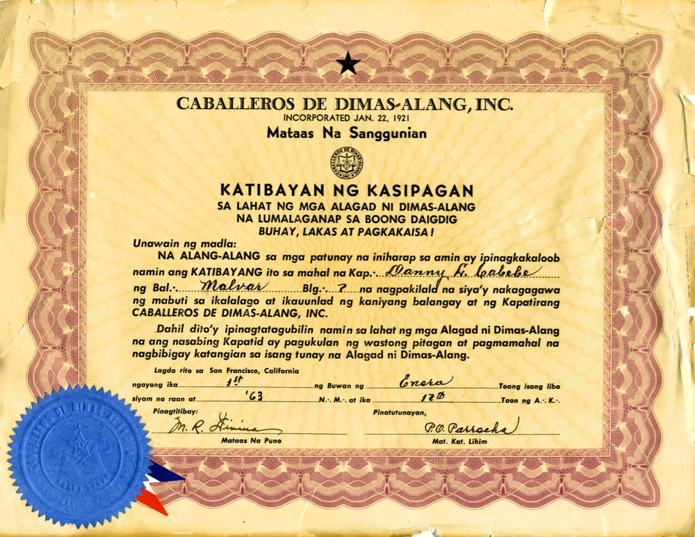 Certificate of achievement awarded to Danny L. Cabebe by the Caballeros de Dimas-Alang, honoring his contributions to the Malvar Lodge, January 1963 (Source: Alice Cabebe Guin collection)