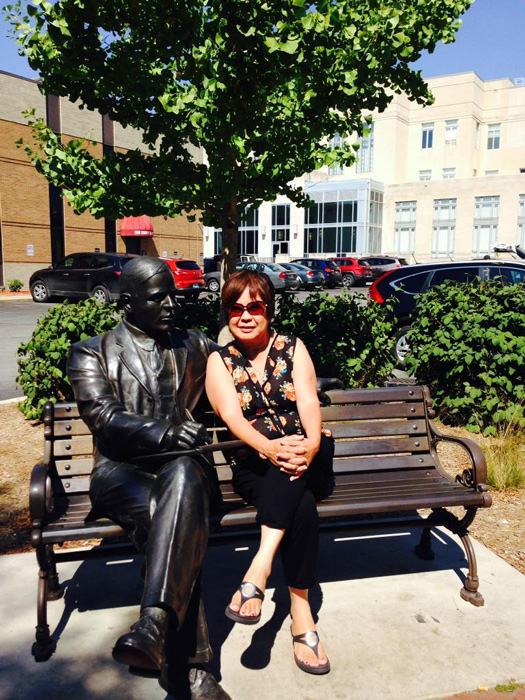 The author sitting next to the Max Ehrmann statue (Photo by Irwin Ver)