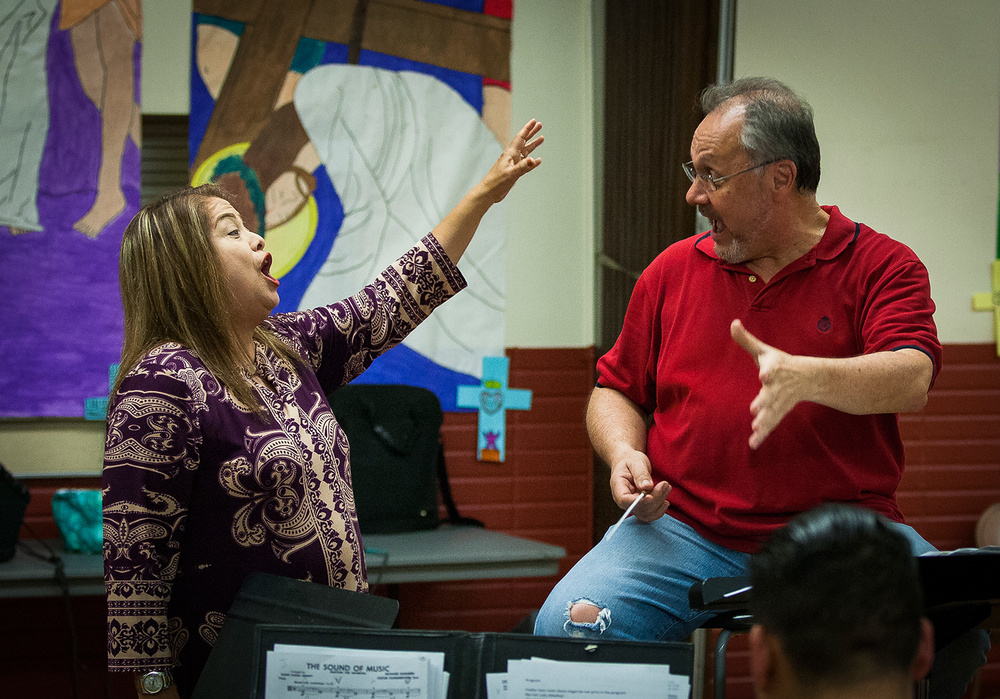 "Singer Djhoanna ""Giji"" Garcia rehearses with FASO musical director and conductor, Robert Shroder (Photo by Ricky Gavino)"