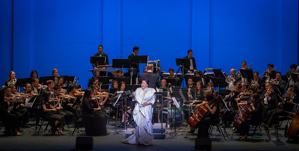 "Broadway actress Joan Almedilla performs with the orchestra in the well-received ""FASO Goes Broadway"" at the Alex Theatre in Glendale. (Photo by RIcky Gavino)"