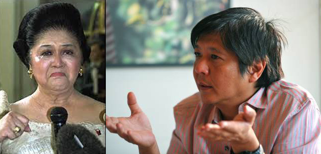 First Lady Imelda Marcos and her son, Senator Bongbong Marcos