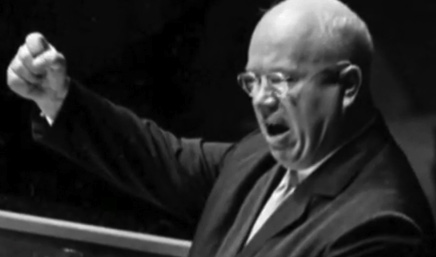 Original image of Khrushchev at the lectern--just raising his fist and delivering fiery words.