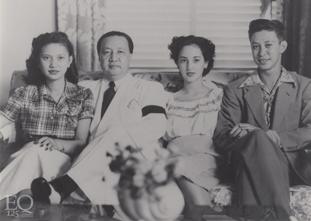 President Elpidio Quirino with his family in Malacañang: daughter Victoria Quirino-Delgado who acted as First Lady; son Tomas with wife Nena Rastrollo. (Photo courtesy of the President Elpidio Quirino Foundation)