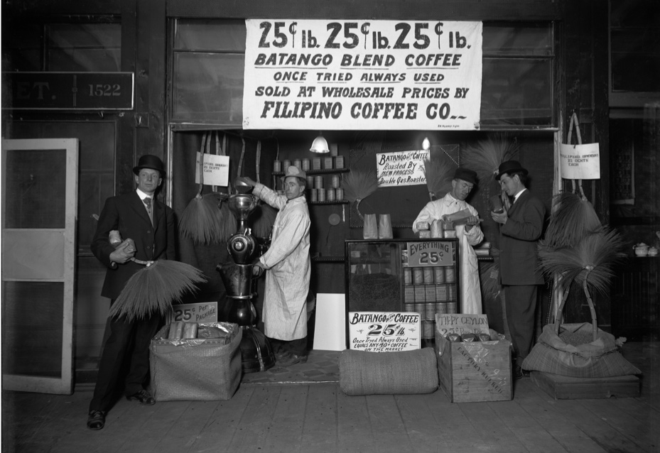 This 1909 photo shows Philippine coffee being sold in Seattle, WA. (Photo courtesy of Museum of History and Industry PEMCO Webster & Stevens Coll)