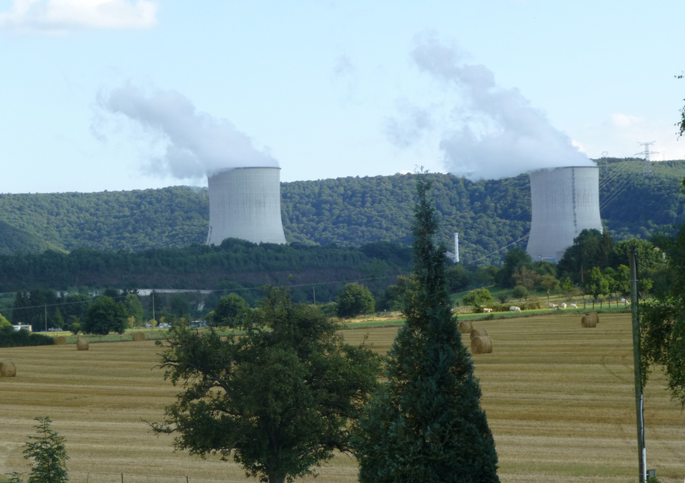 The twin nuclear power plants, menacing but giving livelihood to the villagers. (Photo by Criselda Yabes)