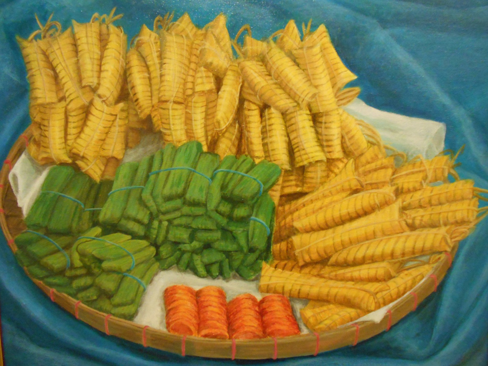 "Suman at Kutsinta (Rice cakes), 1997, acrylic on canvas, 20""x16"" (Photo by John Garrett)"