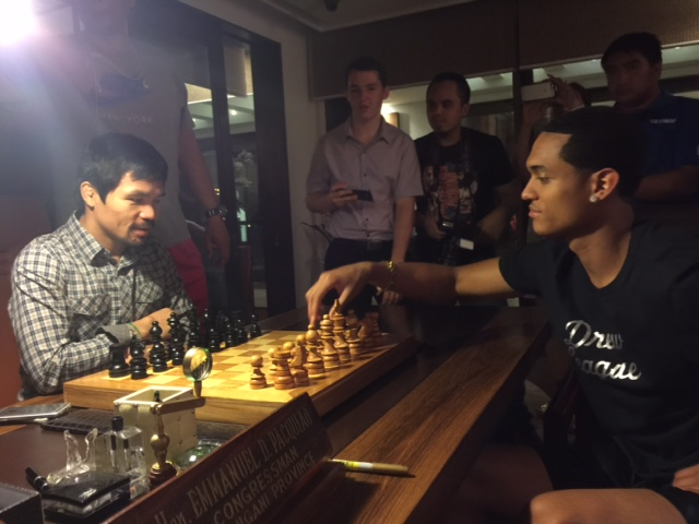 Jordan was invited to Manny Pacquiao's residence and played a game of chess.  (Photo courtesy of Rogers & Cowan)