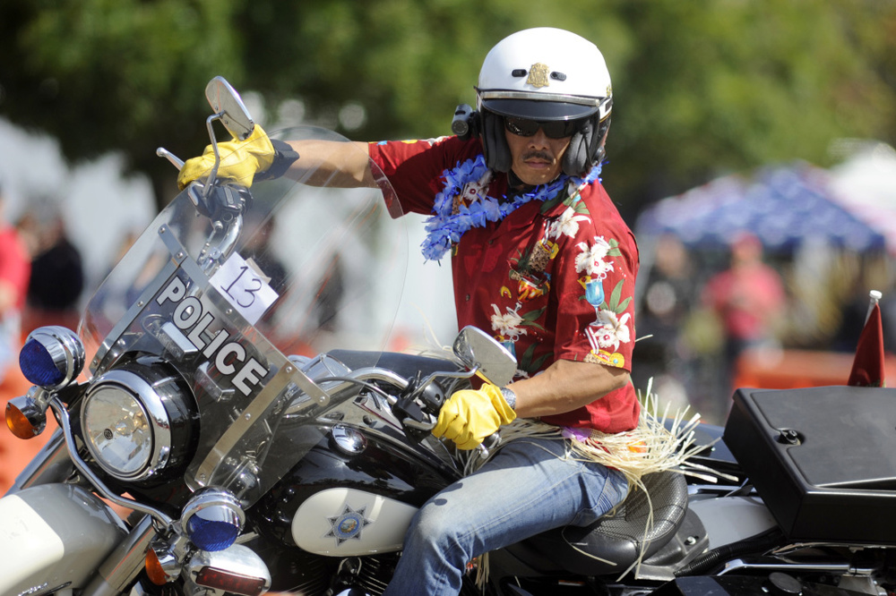 Officer Angel Lozano of the San Francisco Police Department wins 1st place in the 2nd Annual Police Motorcycle Training competition at the Solano Town Center in Fairfield in May 2015. (Photo by Aaron Rosenblatt, Daily Republic)