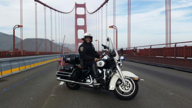 Angel Lozano, SFPD Motorcyle Cop, on Golden Gate Bridge (Photo courtesy of Marieshelle Lozano)