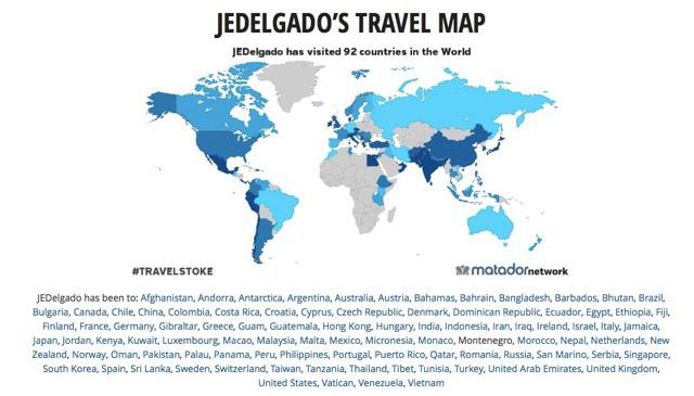 The countries Ed Delgado has visited (Photo courtesy of Jose Eduardo C.Delgado)