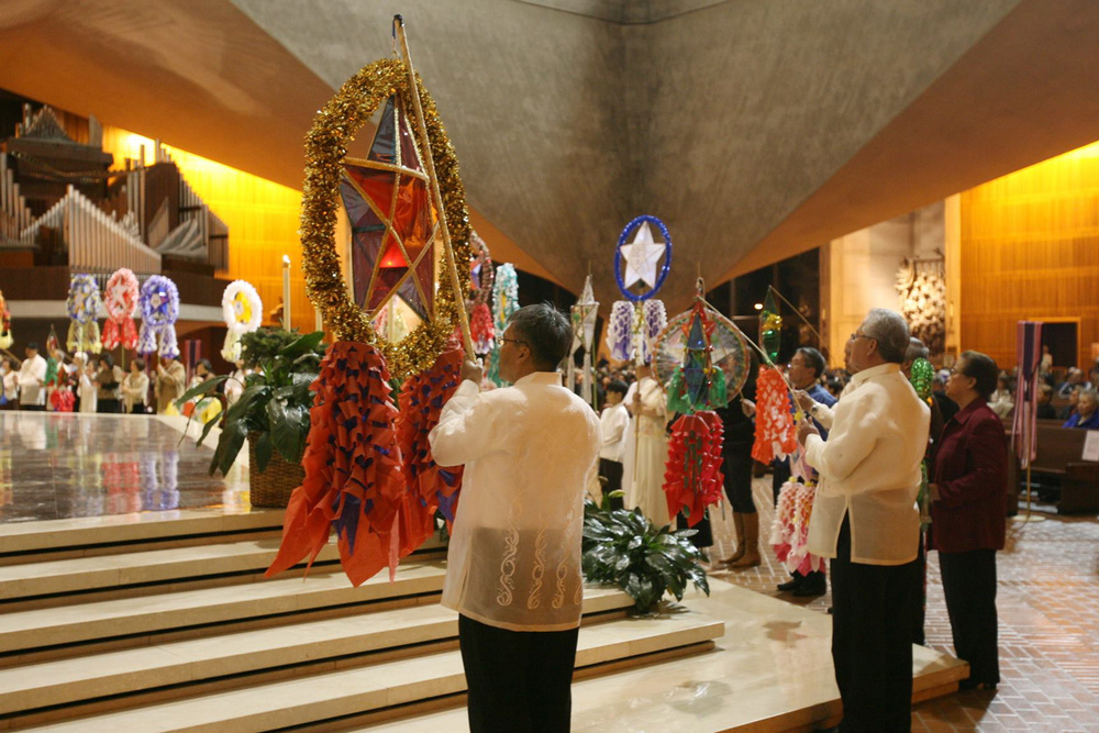 Parish organizers of Simbang Gabi in the San Francisco Archdiocese gather for the blessing of the parol and commissioning rites. (Photo courtesy of the Simbang Gabi Community of San Francisco)