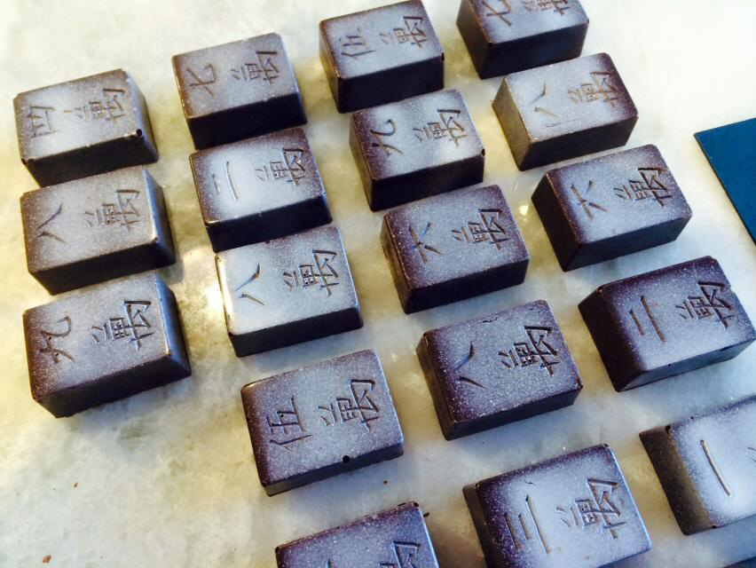"Chocolate truffles shaped as ""mahjong"" tiles are hot sellers. (Photo courtesy of Mindy Fong)"