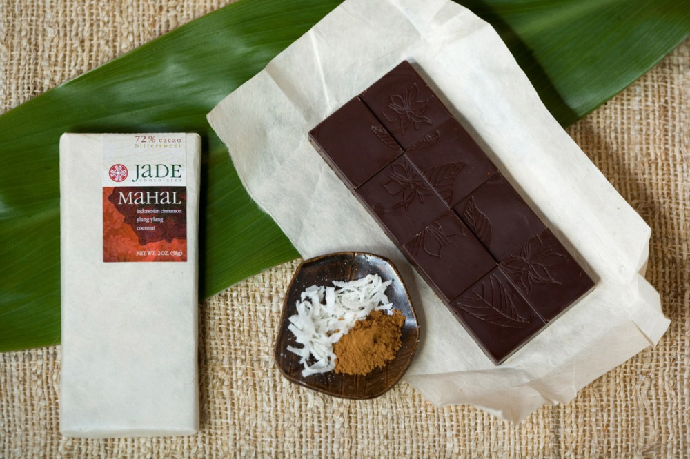 """  Mahal"" Chocolate Bar   with essences of ylang-ylang, cinnamon and toasted coconut, named after Mindy's daughter. (Photo courtesy of Mindy Fong)"