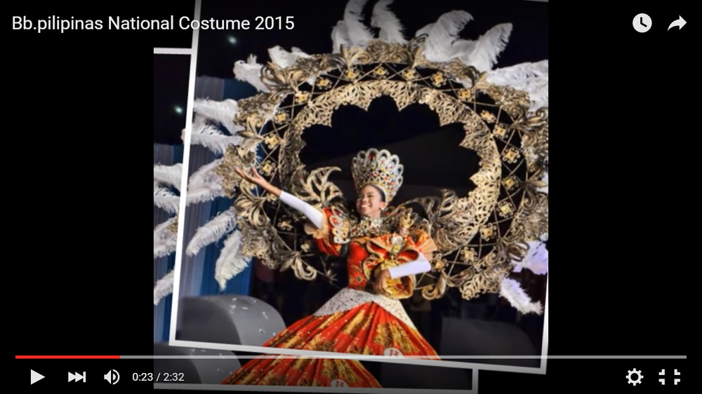 The National Costume portion of the 2015 Binibining Filipinas pageant in Manila—looks like one gigantic Pampanga parol (lantern) on steroids, although this one did not advance to the international stage.