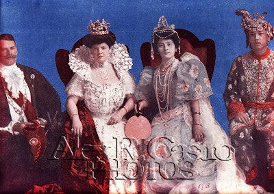 A composite picture of the two Manila Carnival Queens of 1908 and their respective escorts: left to right, Capt. George T. Langhorne (King of the Occident), Marjorie Colton (Queen of the Occident), Pura Villanueva (Queen of the Orient) and Manuel Gomez (King of the Orient). The double titles were discontinued in 1909, leaving only the Filipina Carnival Queen. (Photo courtesy of Alex R. Castro)