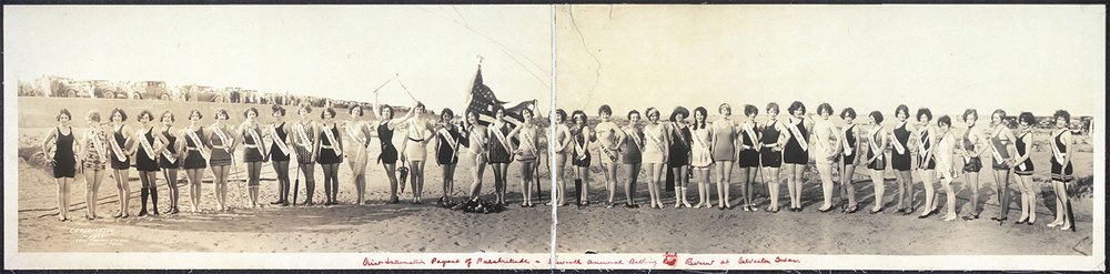 The 39 contestants of the first International Pageant of Pulchritude, 1926, in Galveston, Texas; a mix of 37 American beauties, and one each from Canada and Mexico. (Cecil Thomson Studios)