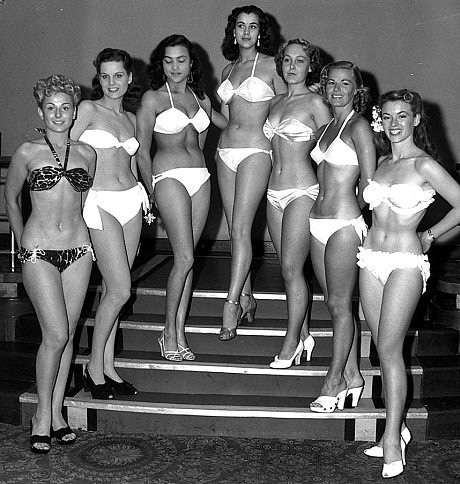 "The first set of Miss Wor…errr, Festival Bikini Contest of 1951 in London. Note non-matching bikinis and no sashes. The pageant would later be known as ""Miss World."""