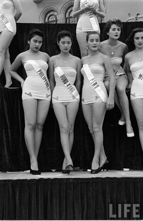 "Among the (""revived"") Miss Universe class of 1952 contestants, including the first Miss Philippines-Universe, Teresita Sanchez (left, with the sullen look), to actually compete, in Long Beach, California."