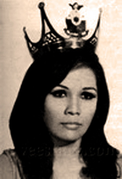 Vivian Lee Austria, the first Miss World-Philippines, 1966. Austria was, for some odd reason, chosen by the College Editors Guild of the Philippines.