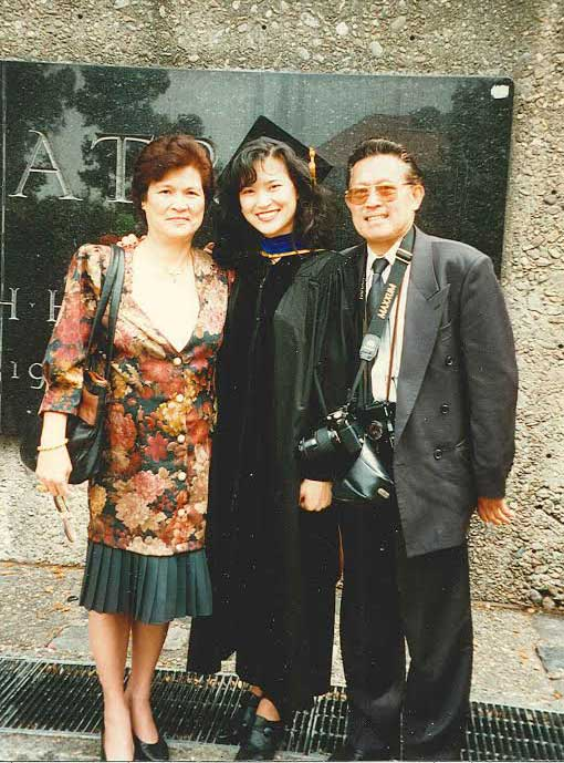 Dr. Elaine Serina at her Ph.D. graduation from UC Berkeley with parents Dr. and Mrs. Eliseo Serina. (Photo courtesy of Dr. Elaine Serina)