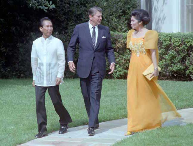 Philippine President Ferdinand Marcos and First Lady Imelda Marcos meet with U.S. President Ronald Reagan at the White House during the state visit in 1982. (Source: Reagan Presidential Library)