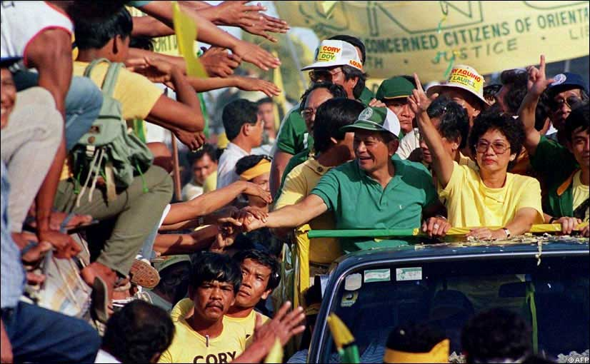 Doy Laurel and Cory Aquino campaigning during the 1986 snap election (Source: AFP)