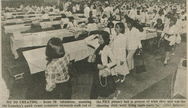 A newspaper clipping of the tabulators walking out to protest the cheating at the Commission on Elections (COMELEC) (Source: Definitely FIlipino. Photo by Alex Baluyut)