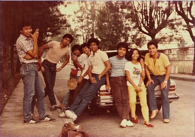 "From Ronnie: UST days. That's me on the far left. The astounding Marissa Buñag of Rage Band fame second from the right.  Here she is before her rock fame erupts and lays waste to audiences all over. She and I were part of a CAFA troupe performing a version of ""Godspell"" in UST with a live band led by also future Rage powerhouse Juan Miguel ""Badong"" Salvador. My brother Rick del Carmen was in the band playing electric guitar. Good times. (Photo courtesy of Ronnie del Carmen)"