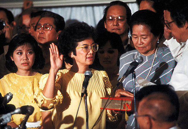 Cory Aquino, taking her oath of office at Club Filipino (Source: Official Gazette)
