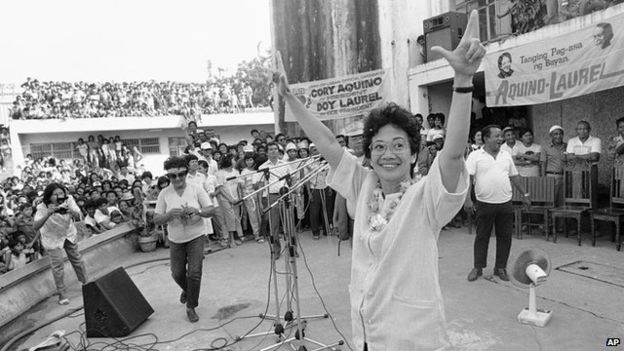 Cory Aquino, campaigning during the snap elections of February, 1986 (Source: AP)