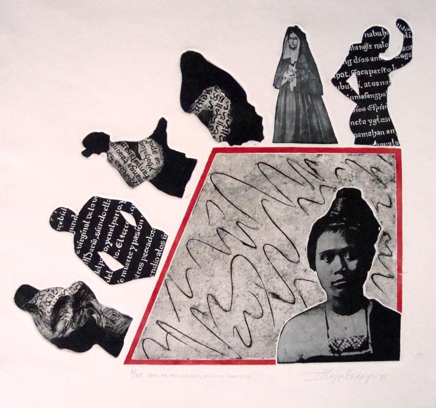 Saan Ka Nanggaling Saan Ka Darating, (1979).  Photoengraving, etching and collagraphy, 35 cm. x 37.5cm., precursor of her work as Filipina feminist. (Photo is courtesy of Imelda Cajipe Endaya)