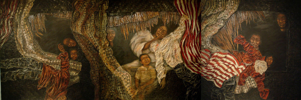 "Pasyong Bayan (1983). oil on canvas and collage on sawali mounted on plywood, 3 pieces totalling 178 x 526.5 cm.  Her ""agony and ecstasy "" work during the rage against martial law and the massive human-rights violations committed under the Marcos regime.(Photo is courtesy of Imelda Cajipe Endaya)"