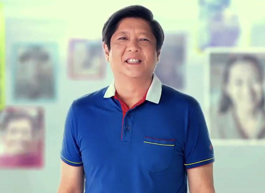 Senator Bongbong Marcos, son of the late dictator, in his campaign commercial