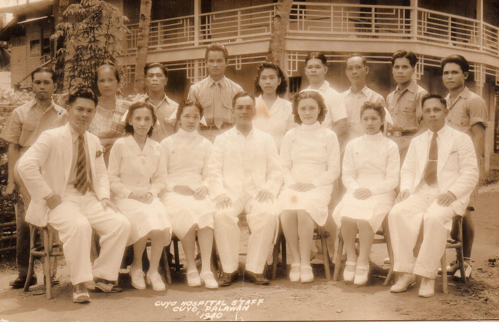 The staff of Cuyo Hospital in 1940 (Photo courtesy of Gia R. Mendoza)