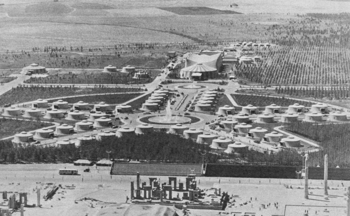 Persepolis 1971.  Bird's eye-view of the tent city erected in the desert site especially for the 2,500th Anniversary celebrations of the Persian Empire in October 1971. There were 50 guest tents (foreground), a dozen other larger tents for the host Pahlavis, and function tents (background). All the tents were individually air-conditioned and heated. and function tents (background). All the tents were individually air-conditioned and heated.