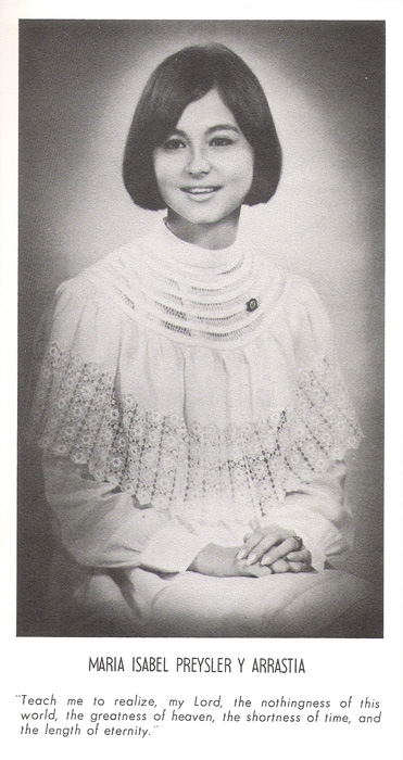 Maria Isabel Preysler Y Arrastia during her Assumption College days (Source: Memorare yearbook)