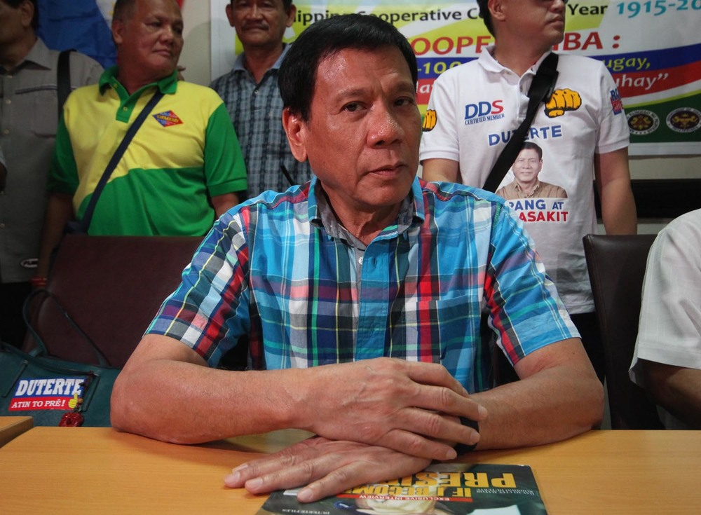 Mayor Rodrigo Duterte, candidate for president, PDP-Laban (Source: Rappler.com/Photo by Joel Leporada)