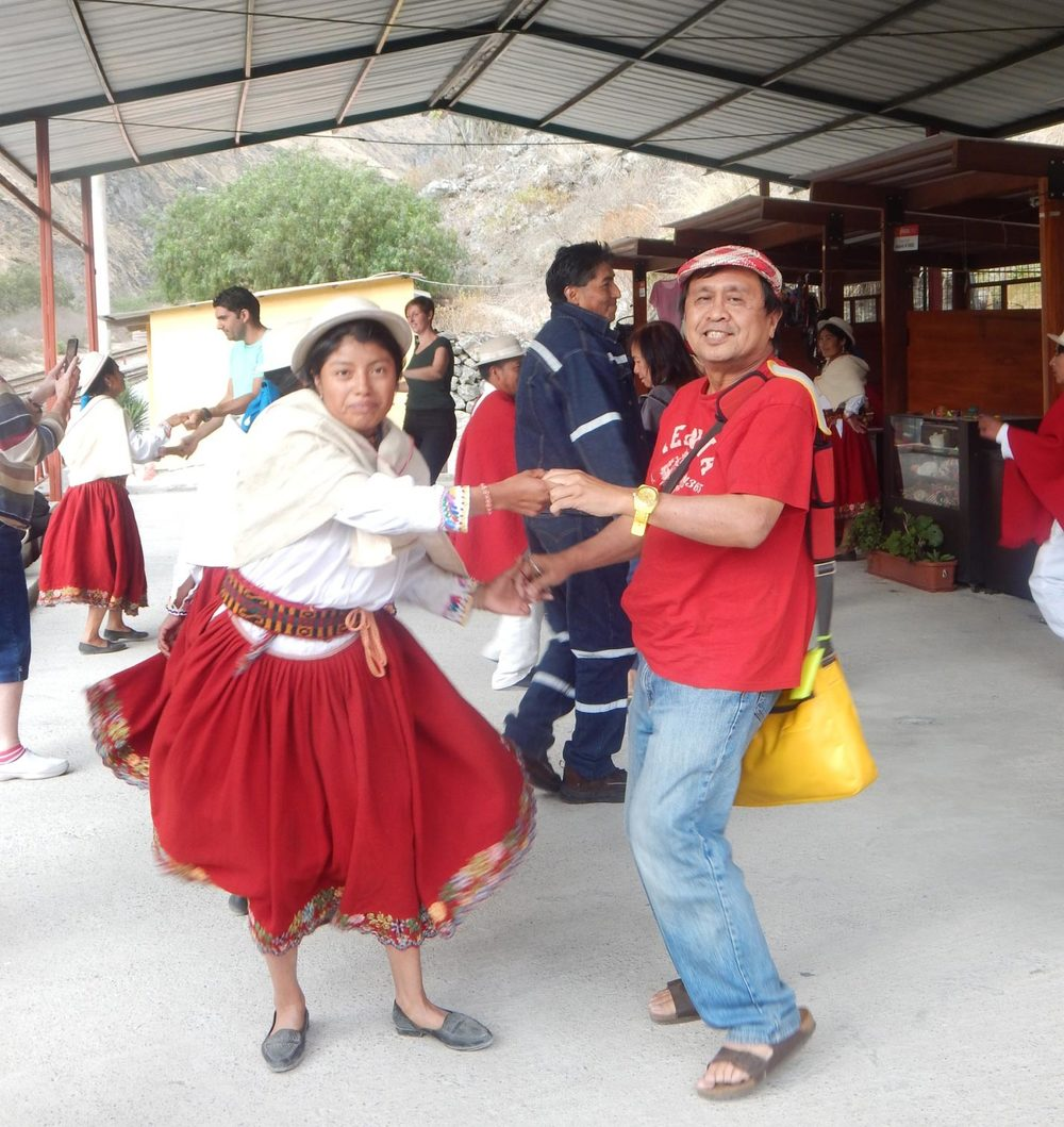 I learned some Ecuadorian folk-dance steps from Maria Agustina Roldan Mendoza in Alausi, Ecuador. (Photo by Antonio Reascos. Photo editing by Ivan Kevin Castro)