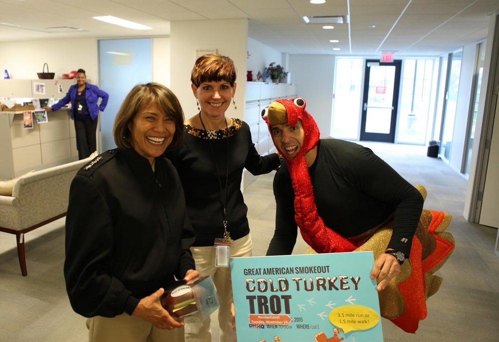 Vice Admiral Bono with Defense Health Agency staff promoting the upcoming Turkey Trot (Source: Military Health)