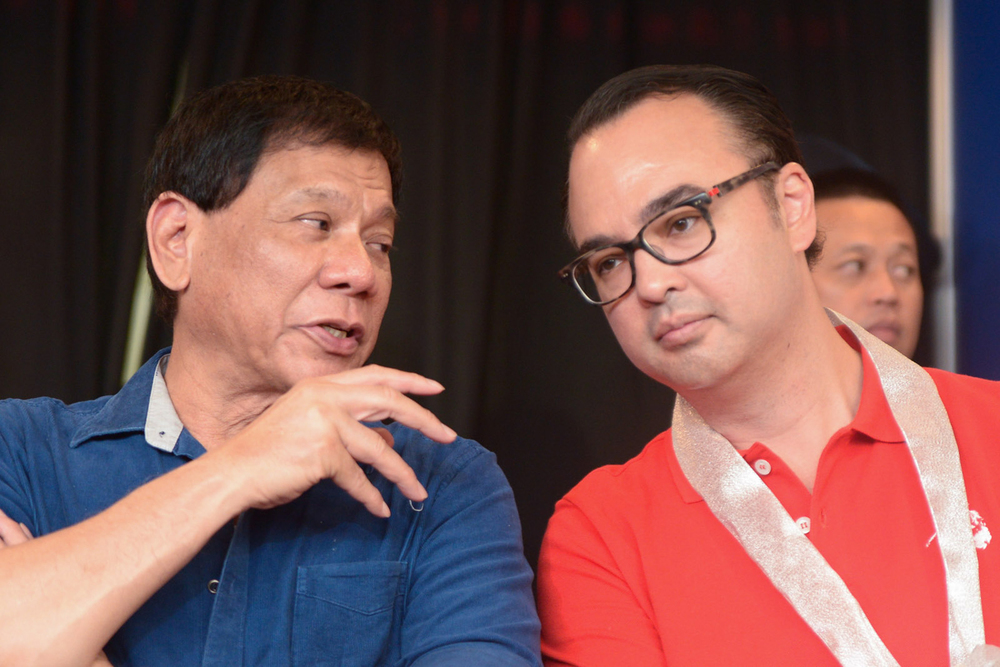 Mayor Rodrigo Duterte and running mate Senator Alan Peter Cayetano (Photo by Jansen Romero/Rappler.com)